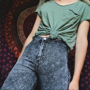 American Apparel black acid wash jeans